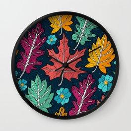 Last leaves of autumn Wall Clock