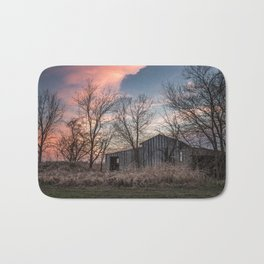 Evening Shade - Old Shed Hidden in Trees at Sunset in Kansas Bath Mat