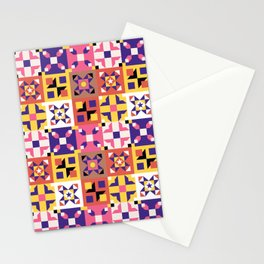 Maroccan tiles pattern with pink and purple no3 Stationery Cards