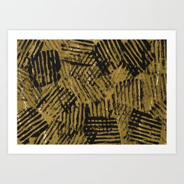 Black golden abstract painting Art Print