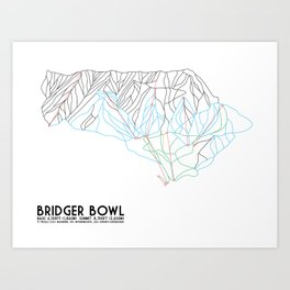Bridger Bowl, MT - Minimalist Trail Art Art Print