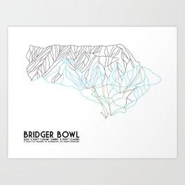 Bridger Bowl, MT - Minimalist Trail Art Art Print