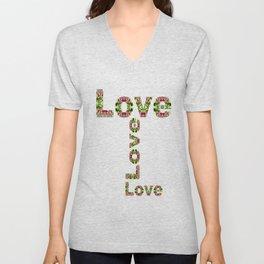Typography Love Unisex V-Neck