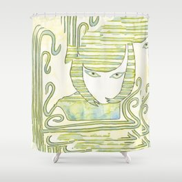 Eqyptian Style Girl Green Shower Curtain