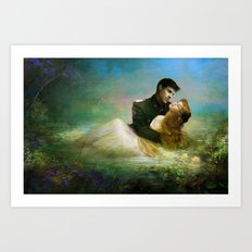 Love me tender - Sad couple in loving embrase in the lake Art Print
