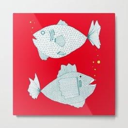 red fish square Metal Print