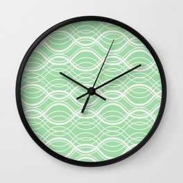 Linen Off White on Pastel Mint Green Overlapping Horizontal Lines Pairs to 2020 Color of Year Wall Clock