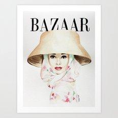 Harper's Bazaar Magazine Cover. Audrey Hepburn. Fashion Illustration Art Print