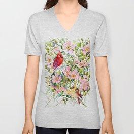 Cardinal Birds and Wild Rose Flowers Unisex V-Neck