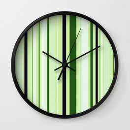 Black Light Blue and Shades of Green Stripes Wall Clock