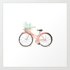 Coral Spring bicycle with flowers Art Print