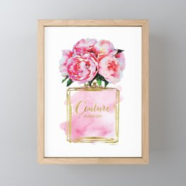 Perfume bottle with flowers, Peony, Peonies, Pink, gold, watercolor, Perfume, Pink, Gold ,Fashion Framed Mini Art Print