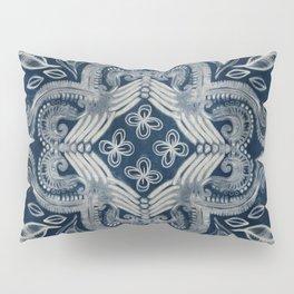 Indigo blue dirty denim textured boho pattern Pillow Sham