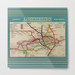 London Undergroud Map 1910 Metal Print