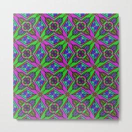 Neon Diamond Pattern Metal Print