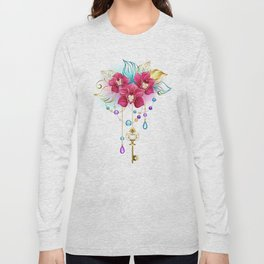 Pink Orchid with Key Long Sleeve T-shirt