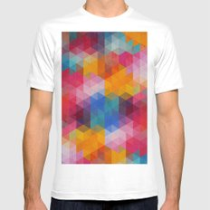 Geometric Color Dynamics Mens Fitted Tee White MEDIUM