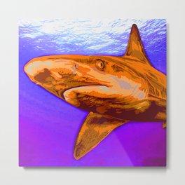 Painted Shark, Orange Metal Print