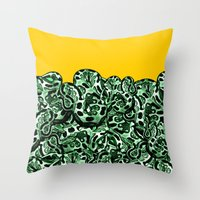 monty python Throw Pillows featuring Python  by Hipsterdirtbag