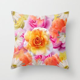 Spring Flowers Galore Absstract Throw Pillow