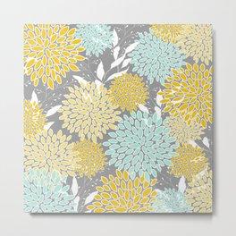 Floral Prints and Leaves, Gray, Yellow and Aqua Metal Print