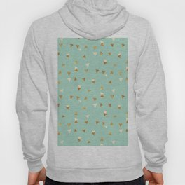 Pastel green ivory faux gold glitter abstract triangles Hoody