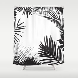 Black And White Palm Leaves Shower Curtain