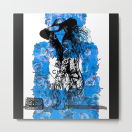 Foral Fashion Blue Metal Print