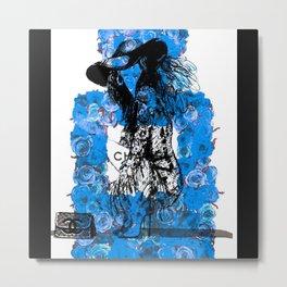 Foral Fashion Blue Metal Print