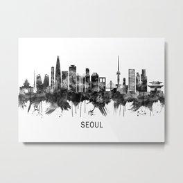 Seoul South Korea Skyline BW Metal Print