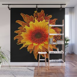 Decor Black & Brown Golden Sunflower Art Wall Mural