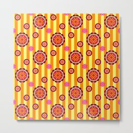 Colorful Retro Mod Flowers on Stripes Metal Print