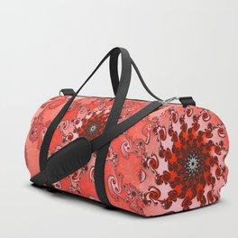 Red Coral Fractal Dufflebag by Amanda Martinson Duffle Bag