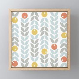 Mid Century Modern Retro Leaf and Circle Pattern Framed Mini Art Print