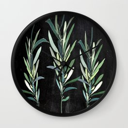 Eucalyptus Branches On Chalkboard Wall Clock