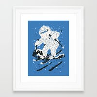 skiing Framed Art Prints featuring Skiing Yeti by Greg Abbott
