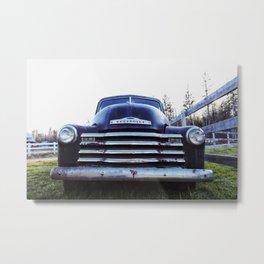 Chevy, Black Truck Metal Print
