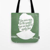 niall horan Tote Bags featuring Niall Horan Silhouette  by Holly Ent