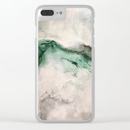 Puki I Waho Green Gray Marbled Painting Clear iPhone Case