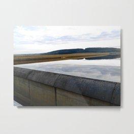 Kielder Reservoir Dam Reflection In Water Metal Print