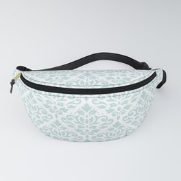 Scroll Damask Lg Pattern Duck Egg Blue on White Fanny Pack