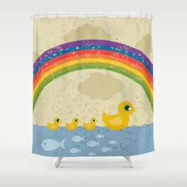Ducks under a rainbow Shower Curtain