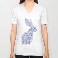 henna V-neck T-shirts featuring Henna Rabbit by Dezi