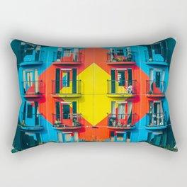APARTMENTS - BLUE - RED - YELLOW - BALCONIES - PHOTOGRAPHY Rectangular Pillow