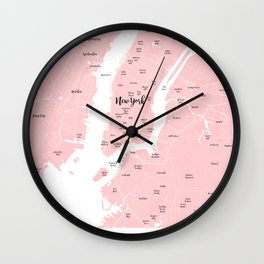 New York Map in the Eyes of a Girl who loves Calligraphic fonts Wall Clock