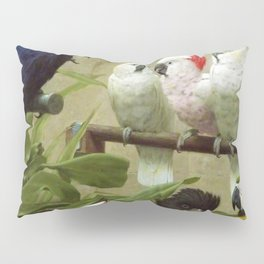 Hyacinth Macaw, Black Cockatoo, Cockatoos, Peach Cockatoo Select Committee by Henry Stacy Marks Pillow Sham