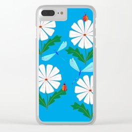 White Spring Daisies, Dragonflies, Lady Bugs and the Sun Clear iPhone Case