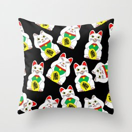 Funny Wise Lucky Rich Cats Throw Pillow