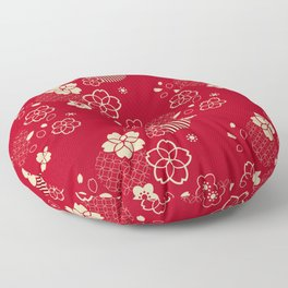 Red Asian pattern with spring flowers Floor Pillow