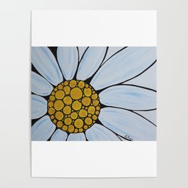 White Daisy - Cheerful white daisy by Labor of Love artist Sharon Cummings. Poster